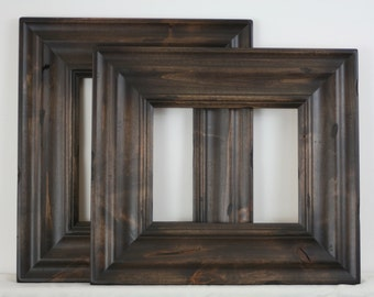 Sizes 8x10 to 12x12 Picture Frame / Knotty Alder Wood / Madera Style / With Carve