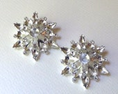 Large Snowflake Brooch Pin with Settings for Rhinestones  - 49x42mm  -  High Quality Strong Vintage Silver Plated / Lacquered Casting