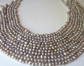 Silver Gray Freshwater Nugget Pearls - Rustic with a Vintage Appeal - Irregularities, Bumps, Dents, Welts - Full Strand - (pga0)