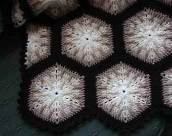 Handmade Dark Brown Edged  Shades of Cream Kaleidoscope Afghan 48 x 68