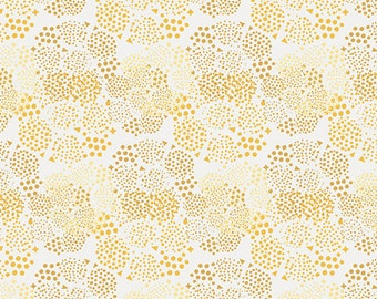 Two Tone Gold and Yellow Polka Dot Circle Floral Cotton, Anna Elise by Bari J for Art Gallery Fabrics, Geo Mist in Gold, 1 Yard