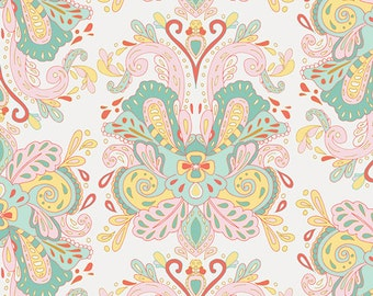 Pink Aqua and Yellow Damask Cotton, Anna Elise by Bari J for Art Gallery Fabrics, Poetic Saddle in Belle, 1 Yard