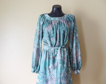 RESERVED for NICOLE Green Floral Peasant Dress size Large