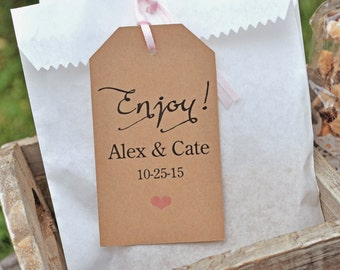 Rustic Baby Shower Favor Tags (Enjoy) - Wedding Thank You Tags - Kraft Favor Tag - Bridal Shower - Birthday Favor Tags - Set of 12