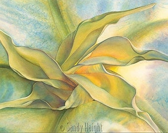 Original large watercolor painting, unframed, flower, Angel's trumpet flower, floral, close up, yellow, wall art, home decor, realistic, art