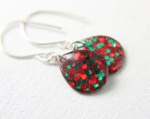 green and red earrings, 1.25 inches long, green and red holiday earrings, glitter resin earrings, sterling silver earrings - SMALL SIZE