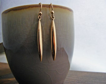 Dangle Earrings, Bronze Earrings, Simple Drop Earrings, Long Earrings, Simplistic Bronze Drop