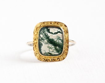 Sale - Antique Edwardian 10k Yellow Gold Moss Agate Stick Pin Conversion Ring - Size 8 1/2 Clear & Green Gem Garland Fisher Co Fine Jewelry