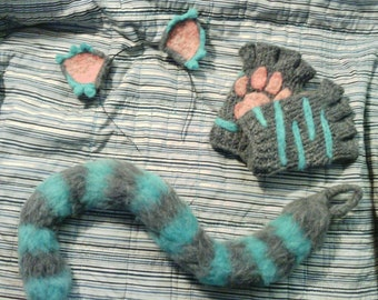 Cheshire Cat Paws, Ears, and Tail - Cheshire Cat: Alice in Wonderland Costume Set