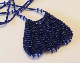 Deep Blue Beaded Amulet Bag Necklace