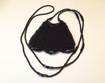 Beaded Amulet Bag Necklace All Black
