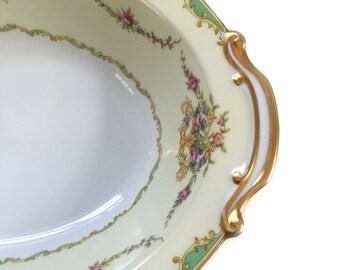 Noritake Greenbrier Pattern 4024 4730 Large Oval Vegetable Bowl 1930s Bridal Engagement Wedding
