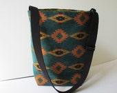 Handmade Exotic Medium Bucket Purse Vegan Upholstery Fabric Ethnic Tribal Mediterranean Indian Southwestern Bag FREE USA SHIPPING