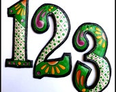 "4 House Numbers - 7 1/2"" Hand Painted Metal Address from Recycled Steel Drum - Green Metal House Number -  AD-200-7GR"