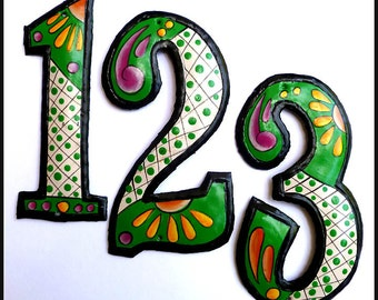 """1 Metal House Number - 7 1/2"""" Hand Painted Metal Green Address Numbers, Recycled Steel Drum Art, Outdoor Wall Decor, Garden Art - AD-200-7GR"""