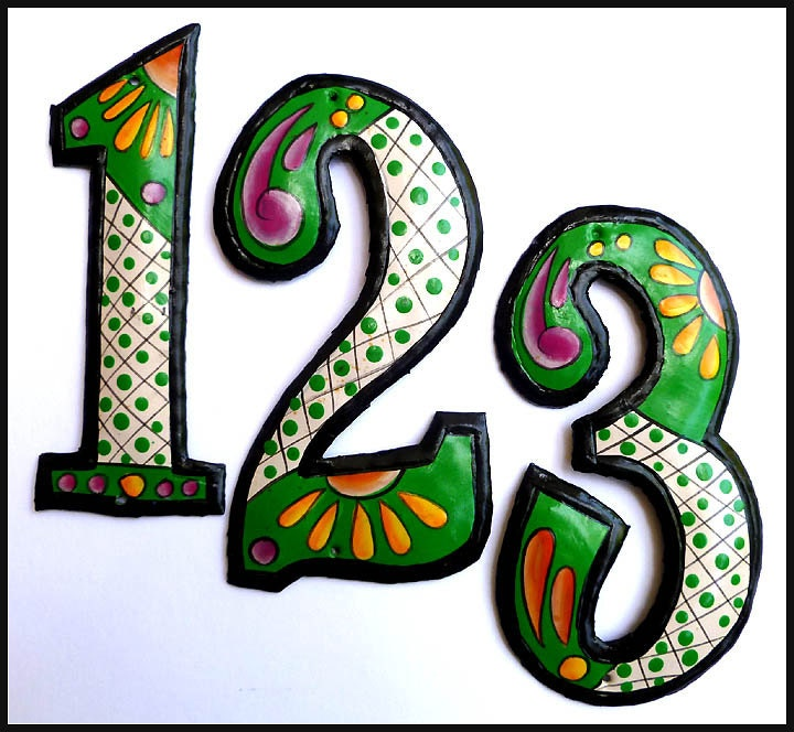 Portaoggetti Design Letters Numbers : Metal house number hand painted green