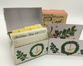Vintage Christmas Card File and Matching Card Holder in Box
