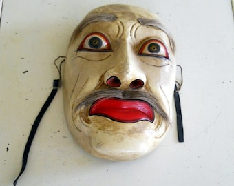 Worried Old Man Vintage Traditional Asian Theater Mask Decor Handcrafted
