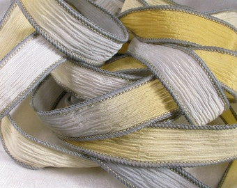 Hand Dyed Silk Ribbon - Crinkle Hand Painted Silk Jewelry Bracelet - Fairy Ribbons - Quintessence - Yellow and Grey