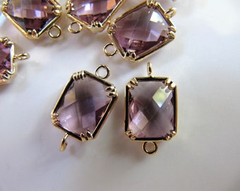 Glass Link Connector Charms Pendants, Gold Plated Brass with Plum Purple Gem, 16mm x 9mm, 2 Pieces, Clear Double Sided, Rectangle