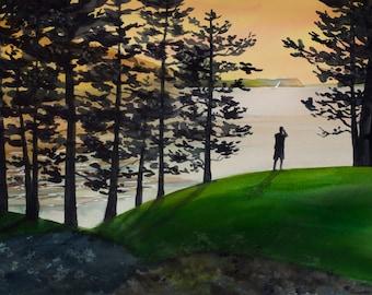Rosario View, Sunset, Watercolor Original, Puget Sound, Orcas Island, San Juan Islands, Silhouette, Trees