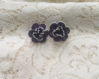 Vintage screw back purple crochet flower earrings