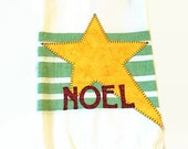 White cotton dish towel green stripes red NOEL appliqué large gold star