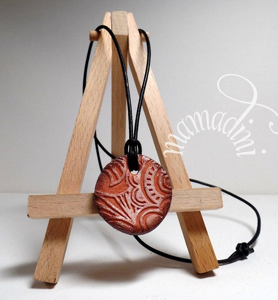 Terra Cotta diffuser necklace - leather cord - essential oils - round
