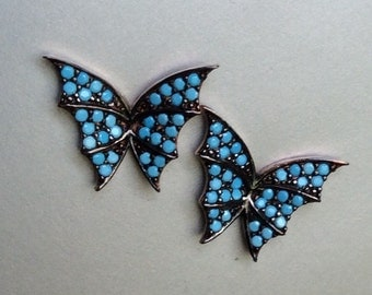 BUTTERFLY STUDS sterling elegant romantic jewel earring turquoise art nouveau inspired
