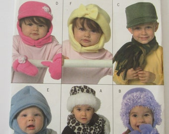 Infants and Toddlers Hats, Scarves and Mittens UNCUT Butterick Pattern B4673 Sizes XS S M L