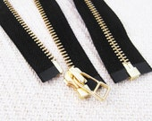 NEW: 5inch - Black Metal Zipper - Gold Teeth - Open End - 2pcs