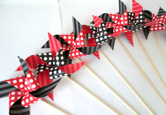 Minnie Mouse Favors Mickey Mouse Favors Paper Pinwheels Polka Dot