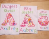 Biggest Sister Big Sister Little Sister 3 Piece Coming Home Sibling Shirt Set with Pink, Aqua and Green Paisley Appliqued Initials
