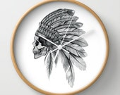 NZFINCH Indian chief wall clock