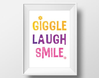Giggle Laugh Smile Modern Kid Quote Printable Wall Art
