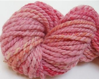 "Yarn Bulky Thick Babydoll Southdown Wool 52 Yards   Hand Dyed Two Ply Pink  Doll Hair Knitting  Crochet "" Sherbet Ombre  """