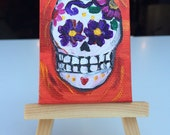 "Day of the Dead original baby painting (2x3"") with easel in red"