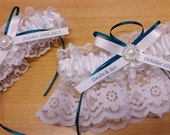 CHOOSE you COLOR Personalized Wedding Garter SET , beautiful white satin and lace with a touch of Oasis