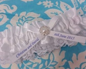 white or ivory Wedding Garter , beautiful personalized white satin and white Lace with a pearl