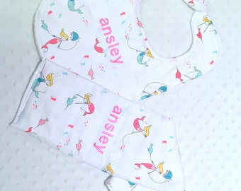Personalized Bib and Burp Cloth Set with Bow - Baby Girl Pink and Aqua Green Mermaids Bib and Burp Cloth Set