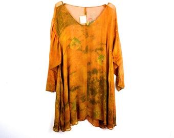 90's Copper Rust Sheer Dyed Tunic Blouse