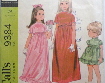 Girl's High Waisted Dress Sewing Pattern - McCall's 9384 - Size 6X, Breast 25 1/2