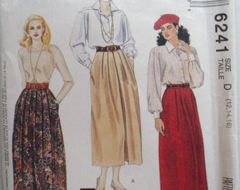 McCall's 6241 - Easy Pleated Skirt Sewing Pattern - Sizes 12-14-16, Waist 26 1/2 - 30