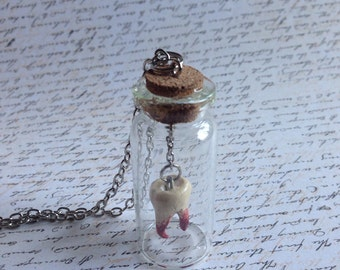 Teeth Collector - Glass Bottle necklace