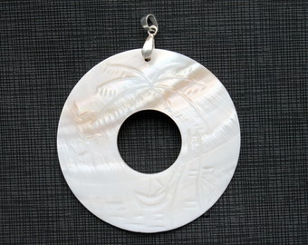 Large White Carved Shell Donut Pendant 60mm
