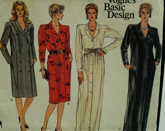 """1980s Coat Dress Pattern, Notched Collar, Long/Short Sleeves, Side/Front Buttons,Vogue Basic Design No. 1178 Size 10  (Bust 32.5"""" 87cm)"""