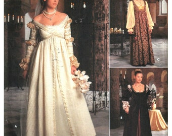 Renaissance Gown Costume Pattern, Ever After, Off Shoulder Wedding Gown, Empire Waist, Snood Veil - Simplicity 8735 0656 Size 10 12