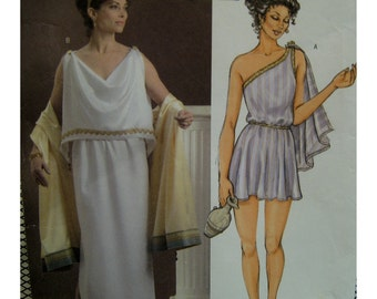 """Women's Grecian Gown Costume Pattern, One Shoulder Tunic, Long Dress, Attached Drape, Butterick 4572 Size XS Small Bust 29-5-32.5"""" 75-83cm"""