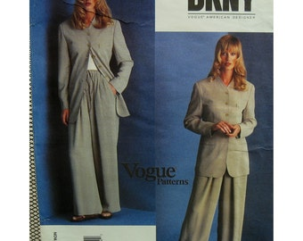 90s Donna Karan Drawstring Pants Pattern, Wide Leg, Loose Jacket, Lined, No Collar, Long, Welt Pockets, Vogue No. 1527 UNCUT Size 8 10 12