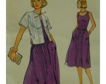 1970s Sleeveless Dress Pattern, Tie Front Jacket, Fitted Bodice, A-line Skirt, Short Jacket, Side Slits, Vogue No. 9773 UNCUT Size 12